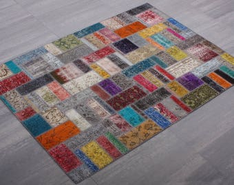 Turkish Patchwork Carpet ,Rug ,Carpet ,Anatolian Striped Patchwork -wool rug-Handmade,170x240=4.08 m2,6x8 ft