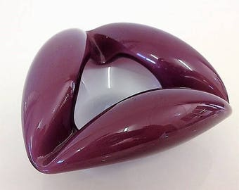 Vintage Art Glass Ashtray/Small Bowl Purple or Amethyst/White Cased Mid-Century Hand Blown Venetian Pontil Mark Curled Sides Triangular