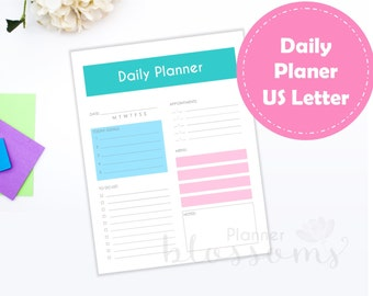 US Letter Size, Daily planner insert, printable. Daily plan, colors for binder. Portrait. Instant download. PDF File.