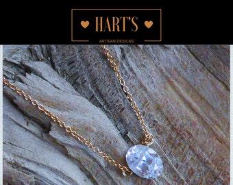 Quartz Crystal Pendant 14K Gold Necklace