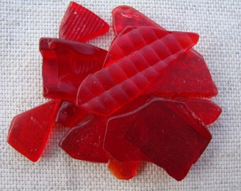 Red seaglass-Craft supplies-Jewelry supplies-plastic Sea-Beach finds-Seaglass Art