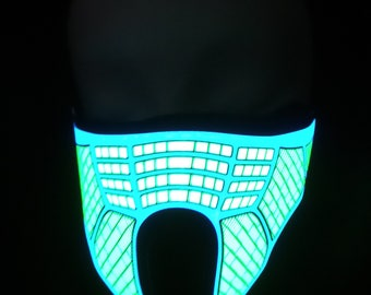 Cyber Sound Activated LED Rave Mask for DJ, Edc, Ultra, Music Festival, Concerts, Club, EDM, Costume, Cosplay, Dance, Music