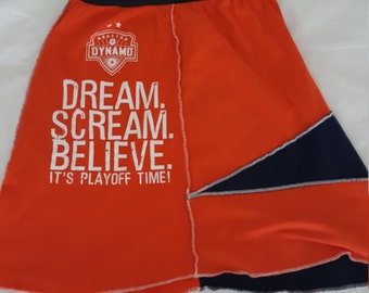 Dynamo, soccer, forever orange, upcycled skirt