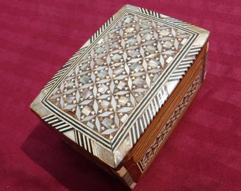 Vintage Ornate Mother of Pearl Jewelry trinket box Collectible Miniature box Hand made repurpose