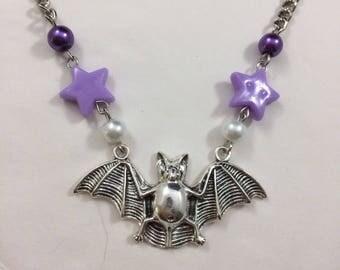 Pastel Goth Bat Necklace