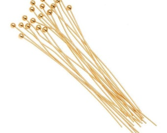 """50/100pcs Gold Ball Pins/ 50 mm 24 Gauge Wire / 2"""" Gold Plated Ball Head Pins/ Headpin Balls/ Necklace Bracelet Earring Findings Components"""