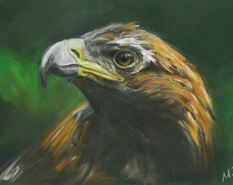 Golden Eagle art, Eagle chalk pastel, Golden Eagle print, Nature art
