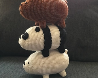 CROCHET PATTERN: We Bare Bears Inspired Bear Stack  (large)
