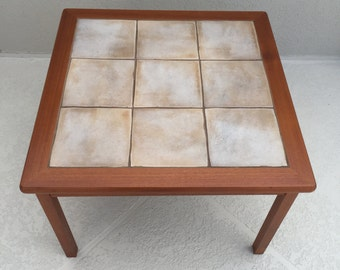 midcentury danish tile and teak end table by toften