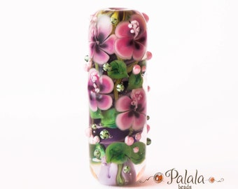 Focal Lampwork Glass Bead with hibiscus blossom