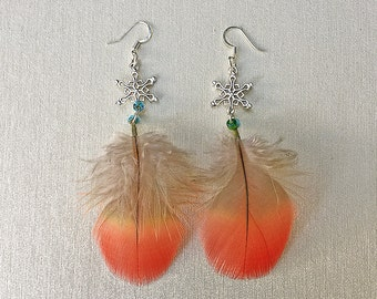 Parrot Feather Snowflake Earrings, Scarlet macaw