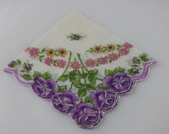 Vintage Floral Handkerchief, Wedding Handkerchief, Flower Girl Handkerchief, Purple Wedding, Cotton Handkerchief, Vintage Wedding Decor,