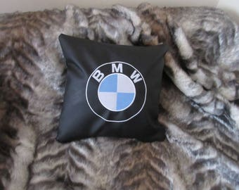"Stunning decorative black faux leather small embroidered handmade cushion cover home car decor 12 x 12"" BMW design  art gift  style"