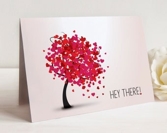 Hey There Notes, Heart Tree Notecards, Set of 10 Notecards with Envelopes, Notecards for Just Saying Hey There
