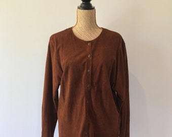 Suede Leather Brown Walnut Colour Vintage Jacket / Shirt