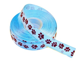 "5 YDS - 7/8"" Blue & Brown Paw Print Grosgrain Ribbon - HIGH-QUALITY"