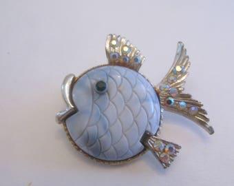 Stunning Hattie Carnegie Blue Lucite Aurora Borealis Rhinestone Fish Brooch
