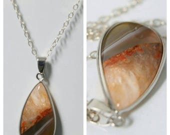 Agate statement gemstone pendant and Sterling Silver Chain