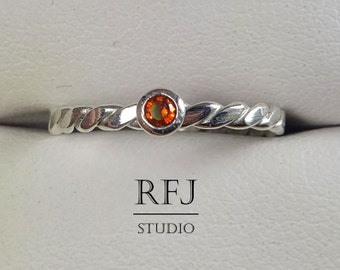 Flat Braided Lab Garnet Silver Ring, Dark Red CZ 2 mm Flattened Rope Sterling Ring Garnet Flat Twisted Ring Dark Red CZ 925 Silver Tiny Ring