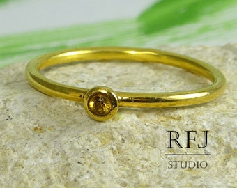 24K Gold Plated Natural Citrine Ring, November Birthstone 2 mm Round Cut Citrine 24K Yellow Gold Plated Stacking Ring, Gold Citrine Ring