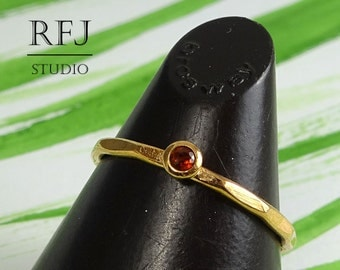 Rose Gold  Natural Garnet Faceted Ring, 14K Gold Plated January Gemstone Ring 2mm Round Cut Red Genuine Garnet Gold Ring Garnet Stacker