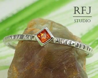 Kite Lab Spessartite Garnet Textured Silver Ring, Princess Cut 2x2mm Red Orange CZ Stack Ring Square Setting Spessartine Garnet Promise Ring