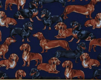 "Dog Fabric, Dachshund Fabric: Timeless Treasures Navy Dachshunds Allover  100% cotton Fabric by the yard 36""x43"" (E275)"