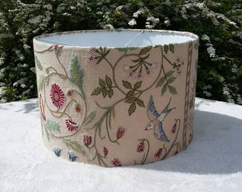 THE WINDRUSH -Hand crafted 40cm drum shade in Lewis & Wood embroidered fabric
