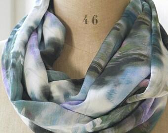 écharpe snood aquarelle, foulard batik, foulard boucle, boucle infini pastel, cadeau maman, écharpe infinie pastel