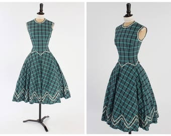 Vintage 1950s homemade Checked Dress