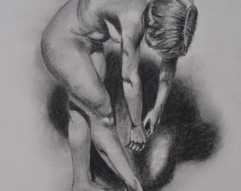 16 inches x 24 inches Print of Original Charcoal Drawing