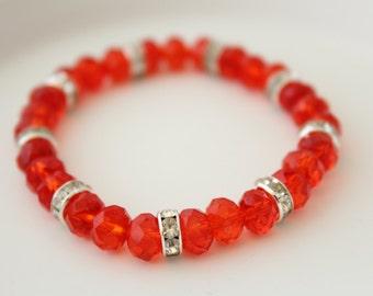 Red Crystals Bracelet - Bracelet for small girls - Girls Bracelet - Kids Bracelet - Kids Jewelry - Wedding Braclelet