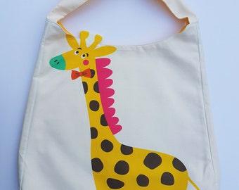 Giraffe Print fabric tote bag for children