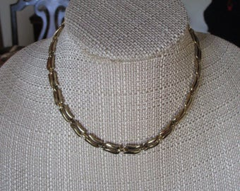 Vintage Monet Gold Tone Choker Necklace