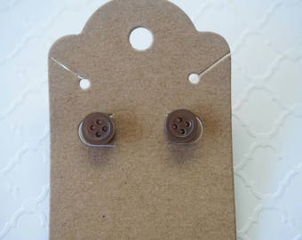 Brown button stud earrings