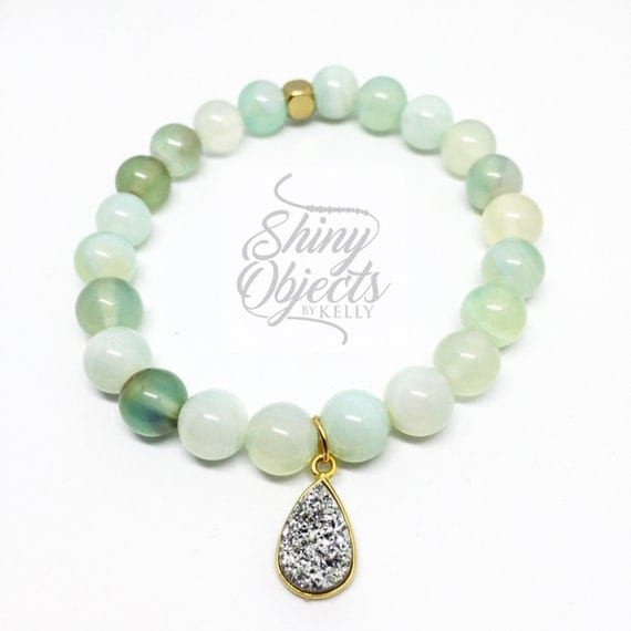 Green Lace Striped Agate with Gold Plated Druzy Pendant