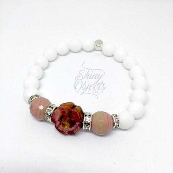 White Onyx, Rhodonite and Czech Glass Flower Bracelet