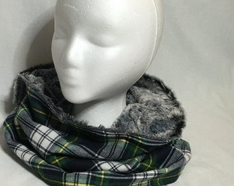 Green Plaid Flannel/Faux Fur Cowl Scarf