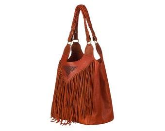 Embossed handbag leather shoulder bag woman hobo roomy handbag brown shopper exclusive handbag handmade bag western bag leather crossbody