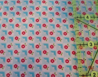 1 yard Riley Blake Bloom and Bliss Blue check 100% cotton fabric, quilt shop quality