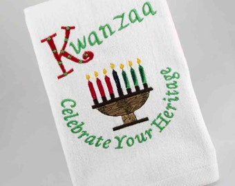 Kwanzaa Celebration #1224-46/Kwanzaa Family/Kwanzaa Hostess/Kwanzaa Bathroom/Kwanzaa Fingertip Towel/Kwanzaa Embroidered Towel