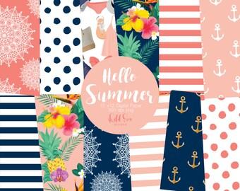 Hello summer 12 x 12 digital paper, stripes, tropical, anchor, fashion