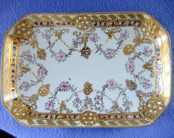 Handpainted Gold Rectangular Serving Dish