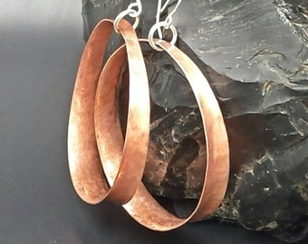 Copper Earrings. Hoop Earrings. Anticlastic Earrings. Handmade Earrings. Large Hoop Earrings