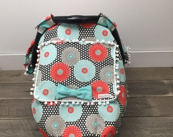 All About Floral - Car Seat Cover - Car Seat Cover Girl - Baby Car Seat Canopy - Baby Girl - Baby Shower Gift - Floral - Window Canopy