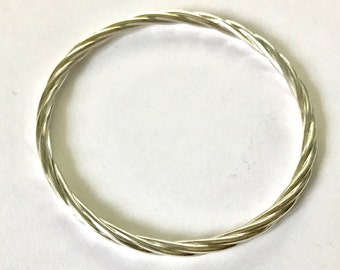 Sterling Silver Handmade Twisted Bangle