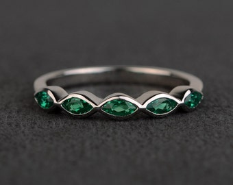 emerald rings wedding bands women emerald band engagement bands sterling silver marquise cut gemstone rings May birthstone ring