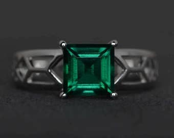 emerald ring solitaire ring emerald engagement ring promise ring square cut green gemstone ring May birthstone ring