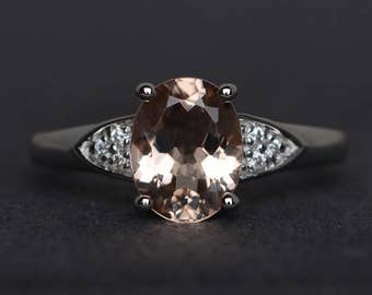morganite engagement ring peach morganite ring promise ring gemstone ring oval cut sterling silver ring