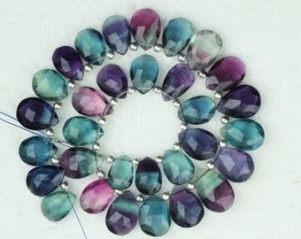 25 piece pear faceted FLUORITE briolette beads 8 x 10 -- 11 x 15 mm approx
